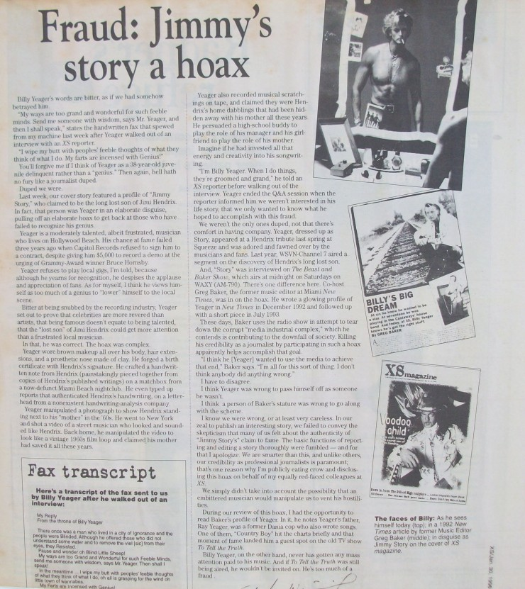 Billy Yeager Jimmys Story Hoax Jimi Hedrix son hoax