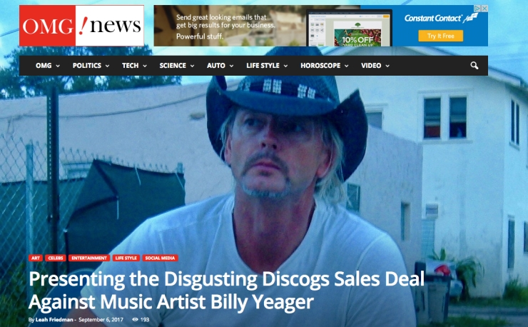 Discogs 2018 Fraud Scam OMG BILLY YEAGER DISCOGS 2018